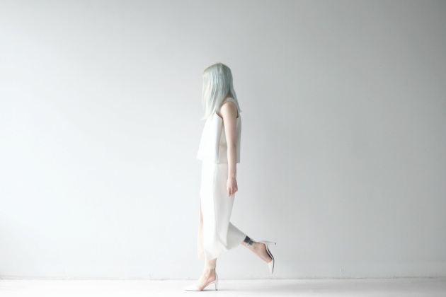 love aesthetics slit dress mint hair